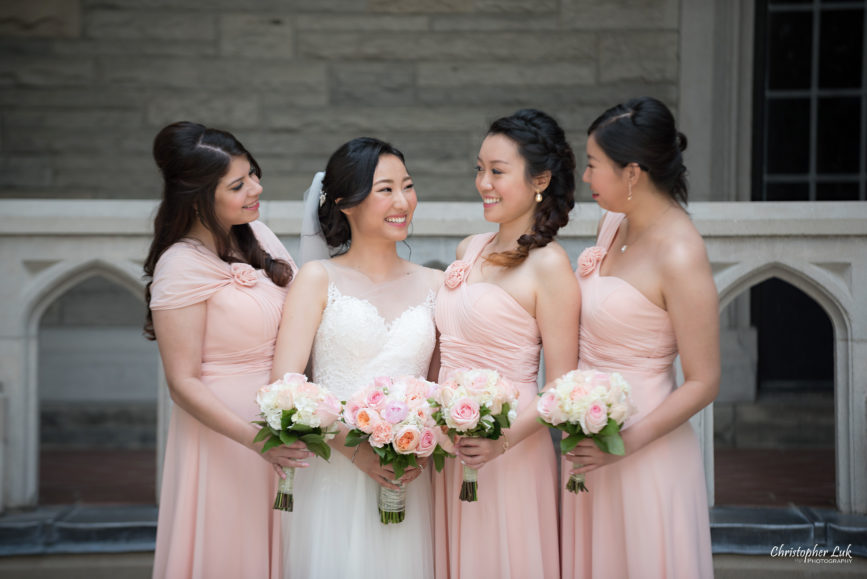 Christopher Luk Toronto Wedding Photographer - Casa Loma Conservatory Ceremony Creative Photo Session ByPeterAndPauls Paramount Event Venue Space Natural Candid Photojournalistic Bride Bridesmaids Pink Dresses Smiling Happy