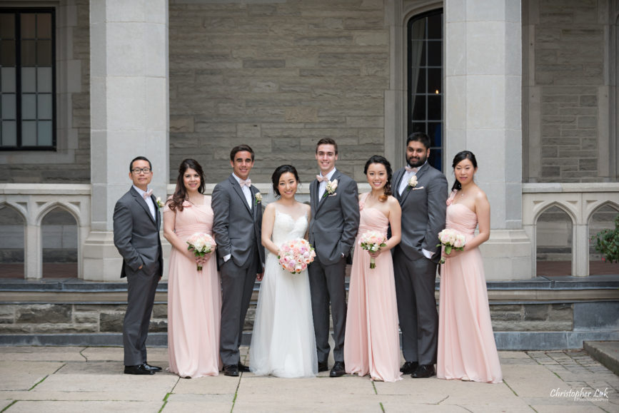 Christopher Luk Toronto Wedding Photographer - Casa Loma Conservatory Ceremony Creative Photo Session ByPeterAndPauls Paramount Event Venue Space Natural Candid Photojournalistic Bride Bridesmaids Pink Dresses Groomsmen Castle Bridal Party Smiling
