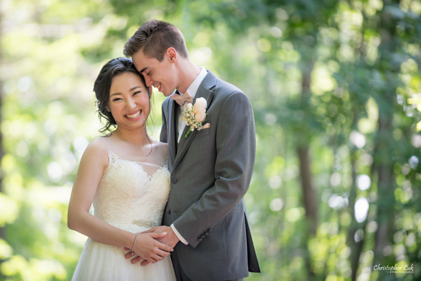 Christopher Luk Toronto Wedding Photographer - Casa Loma Conservatory Ceremony Creative Photo Session ByPeterAndPauls Paramount Event Venue Space Natural Candid Photojournalistic Vellore Town Hall Vaughan Woodbridge Greenery Forest Bride Groom Hug Smile Close Up