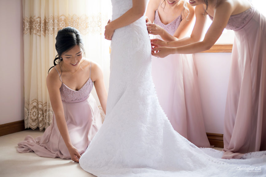 Christopher Luk - Toronto Wedding Photographer - Markham Home Private Residence Bride Alfred Angelo from Joanna's Bridal Natural Candid Photojournalistic Creative Curtains Portrait Bridesmaids Getting Ready Bridesmaid