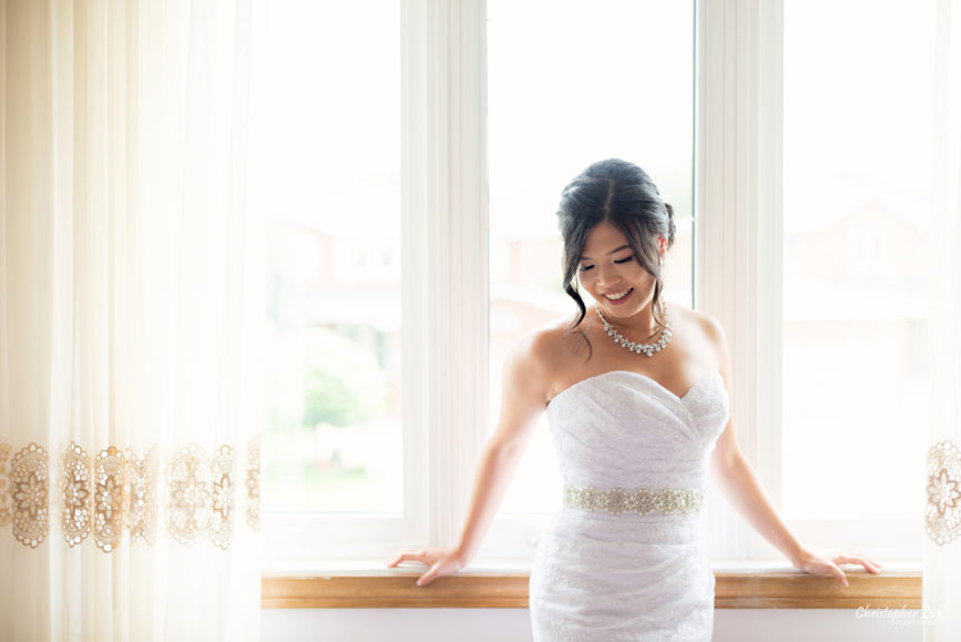 Christopher Luk - Toronto Wedding Photographer - Markham Home Private Residence Bride Alfred Angelo from Joanna's Bridal Natural Candid Photojournalistic Creative Curtains Portrait