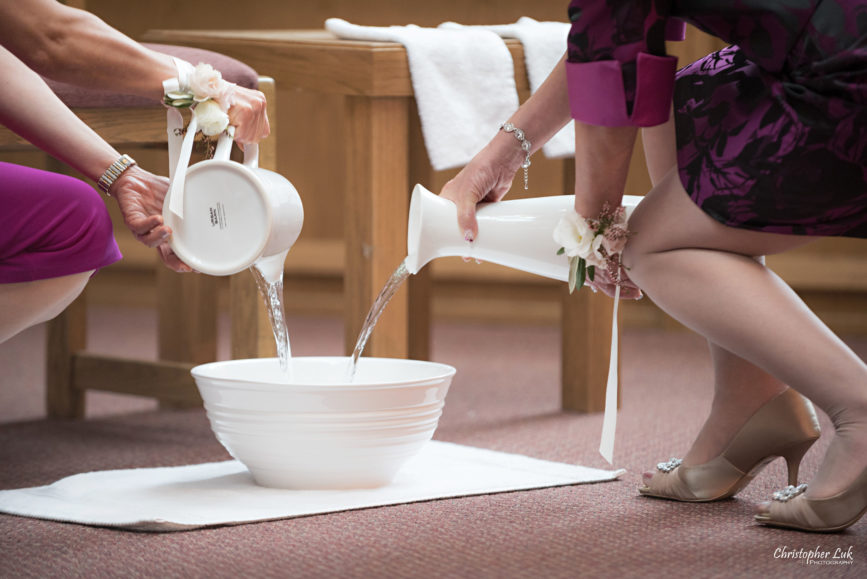 Christopher Luk - Toronto Wedding Photographer - Markham Chinese Baptist Church MCBC Christian Ceremony - Natural Candid Photojournalistic Mothers Water Vase Footwashing Foot Washing Humility Pouring
