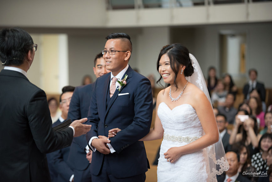 Christopher Luk - Toronto Wedding Photographer - Markham Chinese Baptist Church MCBC Christian Ceremony - Natural Candid Photojournalistic Bride Groom Pastor Officiant Sermon Message Exhortation Homily Cute Sweet Moment Holding Hands Reaction Laugh