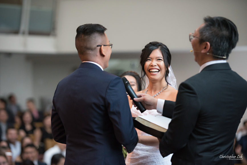 Christopher Luk - Toronto Wedding Photographer - Markham Chinese Baptist Church MCBC Christian Ceremony - Natural Candid Photojournalistic Bride Groom Vows Laugh Funny