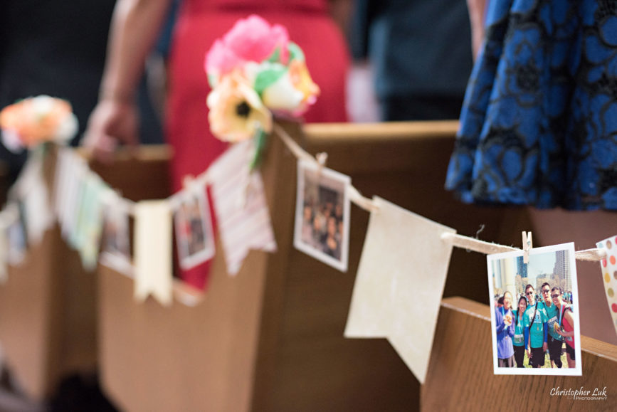 Christopher Luk - Toronto Wedding Photographer - Markham Chinese Baptist Church MCBC Christian Ceremony - Natural Candid Photojournalistic Bride Groom Relationship Flags Photos Prints String Clothespins Rustic Vintage Memories Decor
