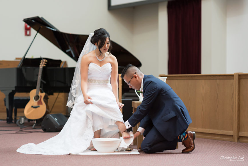 Christopher Luk - Toronto Wedding Photographer - Markham Chinese Baptist Church MCBC Christian Ceremony - Natural Candid Photojournalistic Bride Groom Water Vase Footwashing Serve Foot Washing Humility