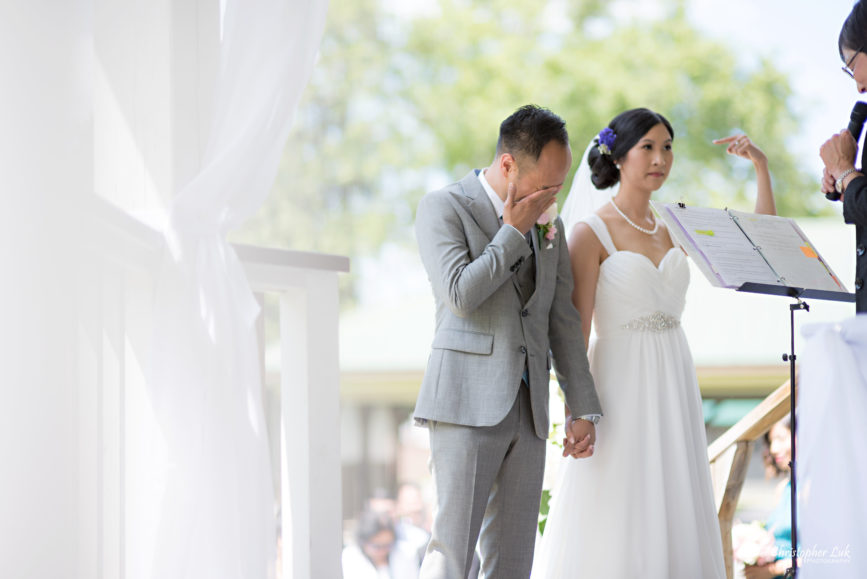 Christopher Luk - Toronto Wedding Lifestyle Event Photographer - Photojournalistic Natural Candid Markham Museum Gazebo Ceremony Bride Groom Vows Emotional Cry Wipe Tears Funny Finger Pointing