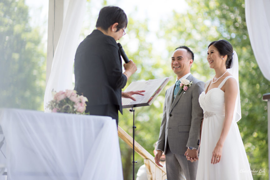 Christopher Luk - Toronto Wedding Lifestyle Event Photographer - Photojournalistic Natural Candid Markham Museum Gazebo Ceremony Bride Groom Linda Wong Officiant Laughing