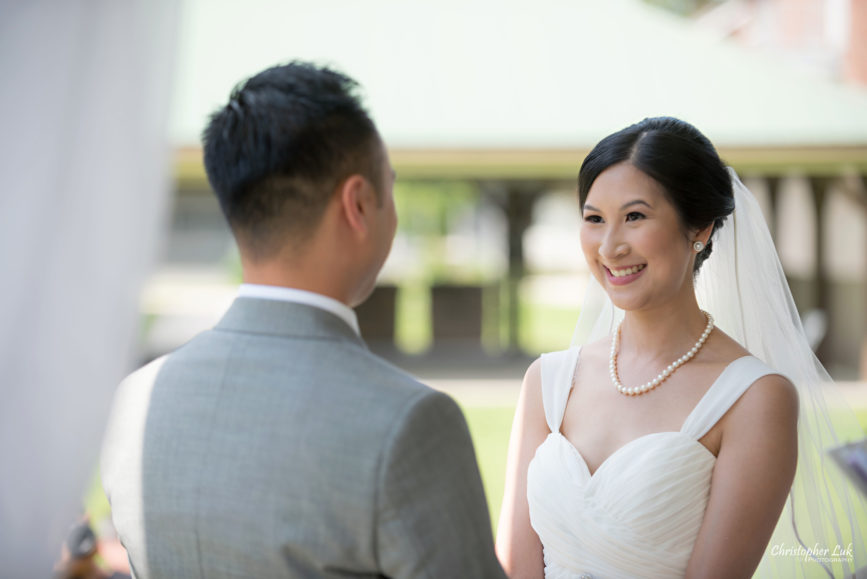 Christopher Luk - Toronto Wedding Lifestyle Event Photographer - Photojournalistic Natural Candid Markham Museum Gazebo Ceremony Bride Vows Smile