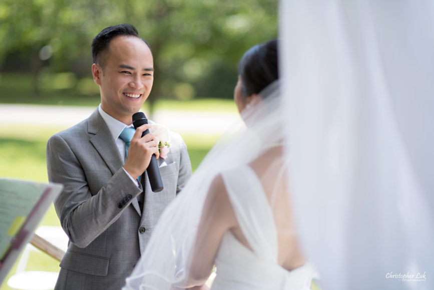 Christopher Luk - Toronto Wedding Lifestyle Event Photographer - Photojournalistic Natural Candid Markham Museum Gazebo Ceremony Groom Vows Smile Glowing