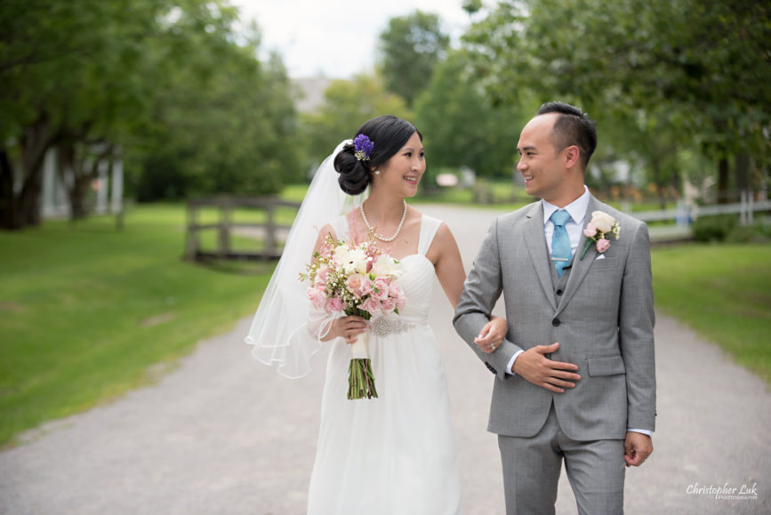 Christopher Luk - Toronto Wedding Lifestyle Event Photographer - Photojournalistic Natural Candid Markham Museum Creative Portrait Session Bride Groom Walk Walking Smile