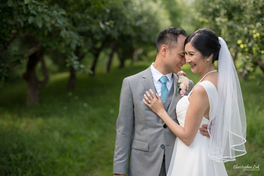 Christopher Luk - Toronto Wedding Lifestyle Event Photographer - Photojournalistic Natural Candid Markham Museum Creative Portrait Session Bride Groom Apple Orchard Hug Each Other Smile