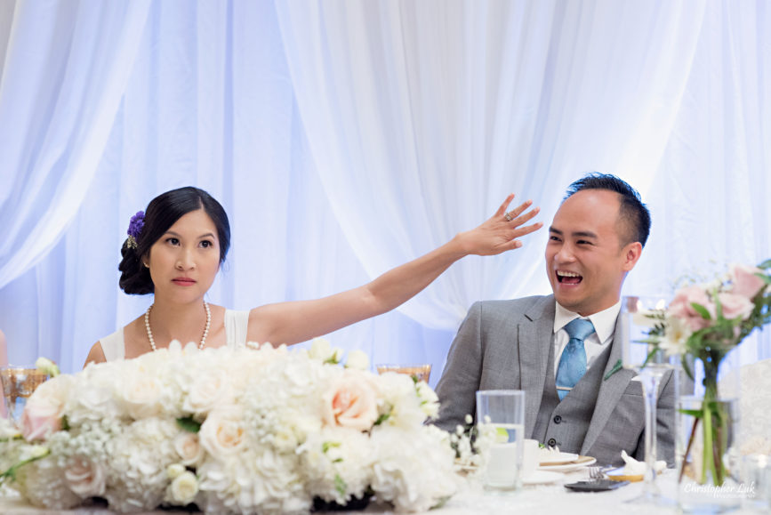 Christopher Luk - Toronto Wedding Lifestyle Event Photographer - Photojournalistic Natural Candid Casa Victoria Chinese Cuisine Dinner Reception Bride Groom Speeches Reaction Funny Ignore Forget Hand