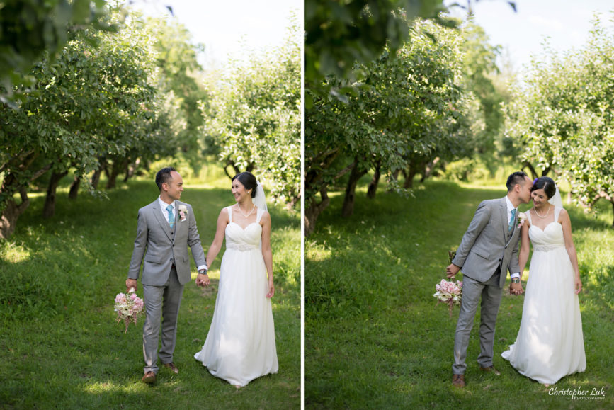 Christopher Luk - Toronto Wedding Lifestyle Event Photographer - Photojournalistic Natural Candid Markham Museum Creative Portrait Session Bride Groom Apple Orchard Walking Together Kiss