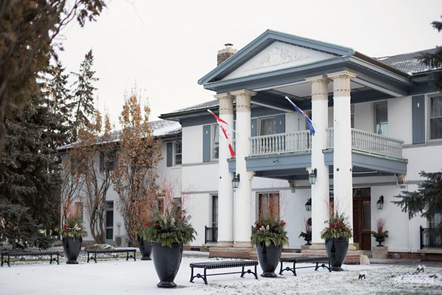 Toronto Wedding Photographer Heintzman House Winter Wedding Historic Estate Event Venue Markham Thornhill York Region Front Entrance Landscaping Planters