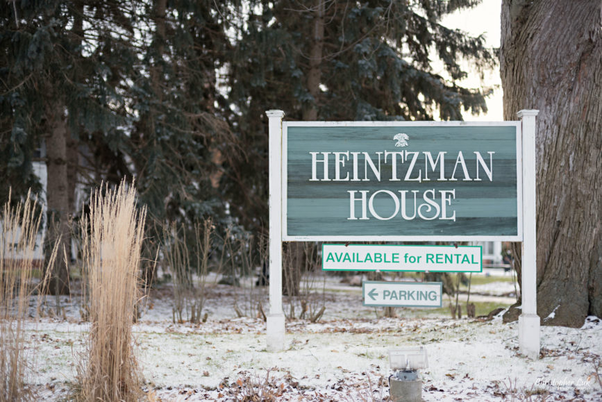Toronto Wedding Photographer Heintzman House Winter Wedding Historic Estate Event Venue Markham Thornhill York Region Front Entrance Landscaping Main Street Sign
