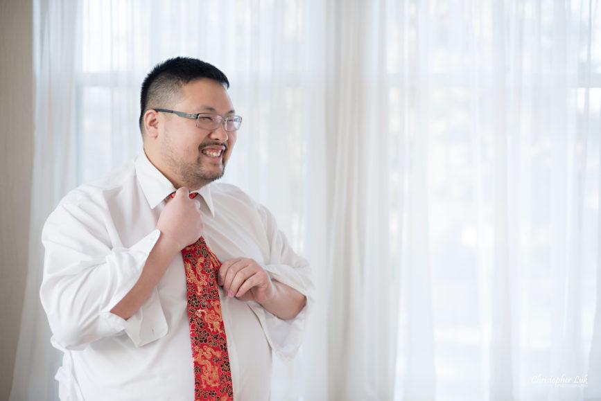 Toronto Wedding Photographer Heintzman House Winter Wedding Historic Estate Event Venue Groom Getting Ready Chinese Red Tie