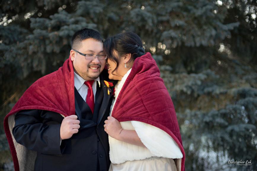 Toronto Wedding Photographer Heintzman House Winter Wedding Natural Candid Photojournalistic Documentary Pictures Photos Bride Groom Evergreen Tree Warm Red Blanket Snuggle