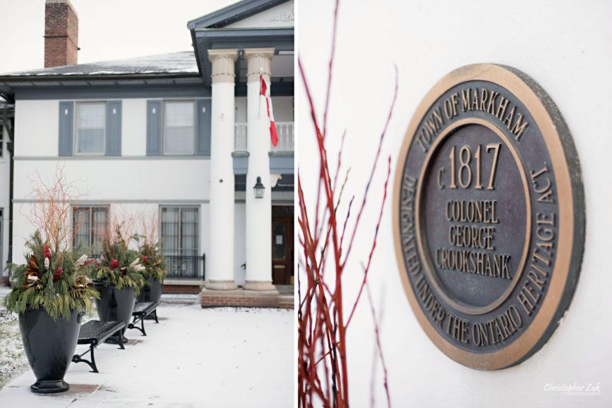 Toronto Wedding Photographer Heintzman House Winter Wedding Historic Estate Event Venue Historical Plaque Thornhill Detail