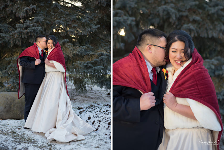 Toronto Wedding Photographer Heintzman House Winter Wedding Natural Candid Photojournalistic Documentary Pictures Photos Bride Groom Evergreen Tree Warm Red Blanket
