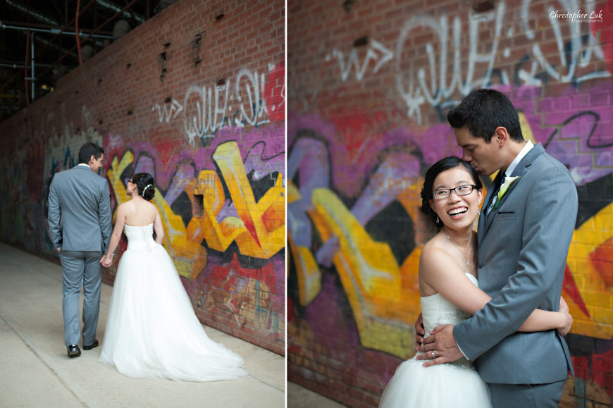 Christopher Luk 2014 - Candy and Francis' Wedding - Grand Hotel Berkeley Field House Evergreen Brick Works - Toronto Wedding Event Photographer - Creative Portrait Session Relaxed Natural Candid Photojournalistic Bride and Groom Hug Walk Laugh