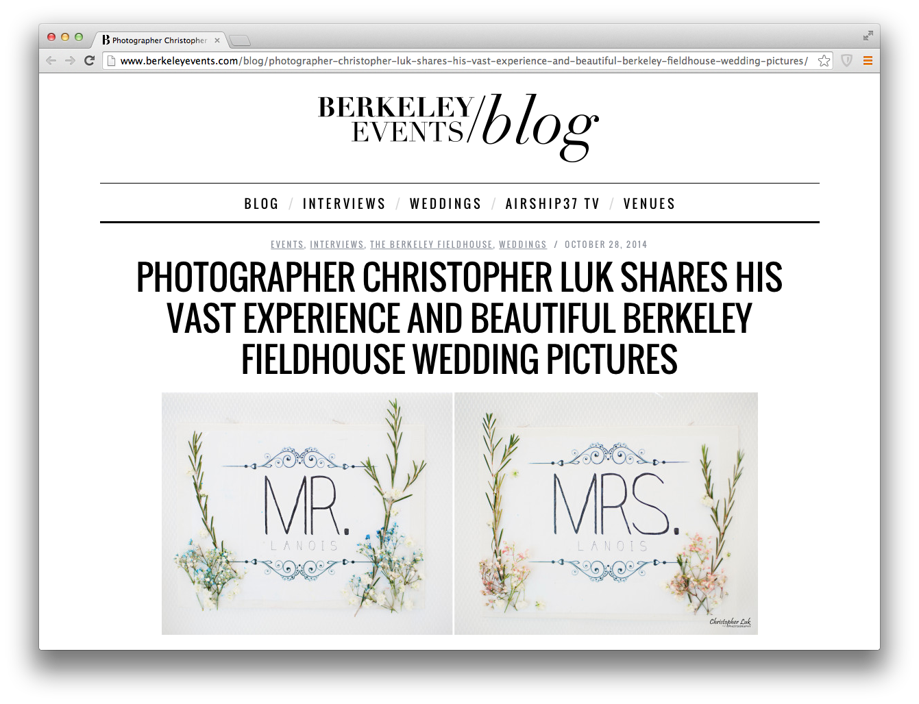 Interview: Photographer Christopher Luk Shares His Vast Experience and Beautiful Berkeley Fieldhouse Wedding Pictures