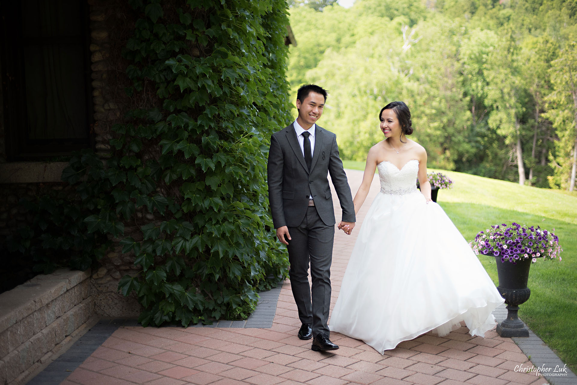 Christopher Luk 2015 - Karen and Scott's Wedding - Miller Lash House University Toronto Scarborough UTSC Outdoor Summer Ceremony Reception - Bride Groom Photojournalistic Candid Natural Relaxed Walking Path Small