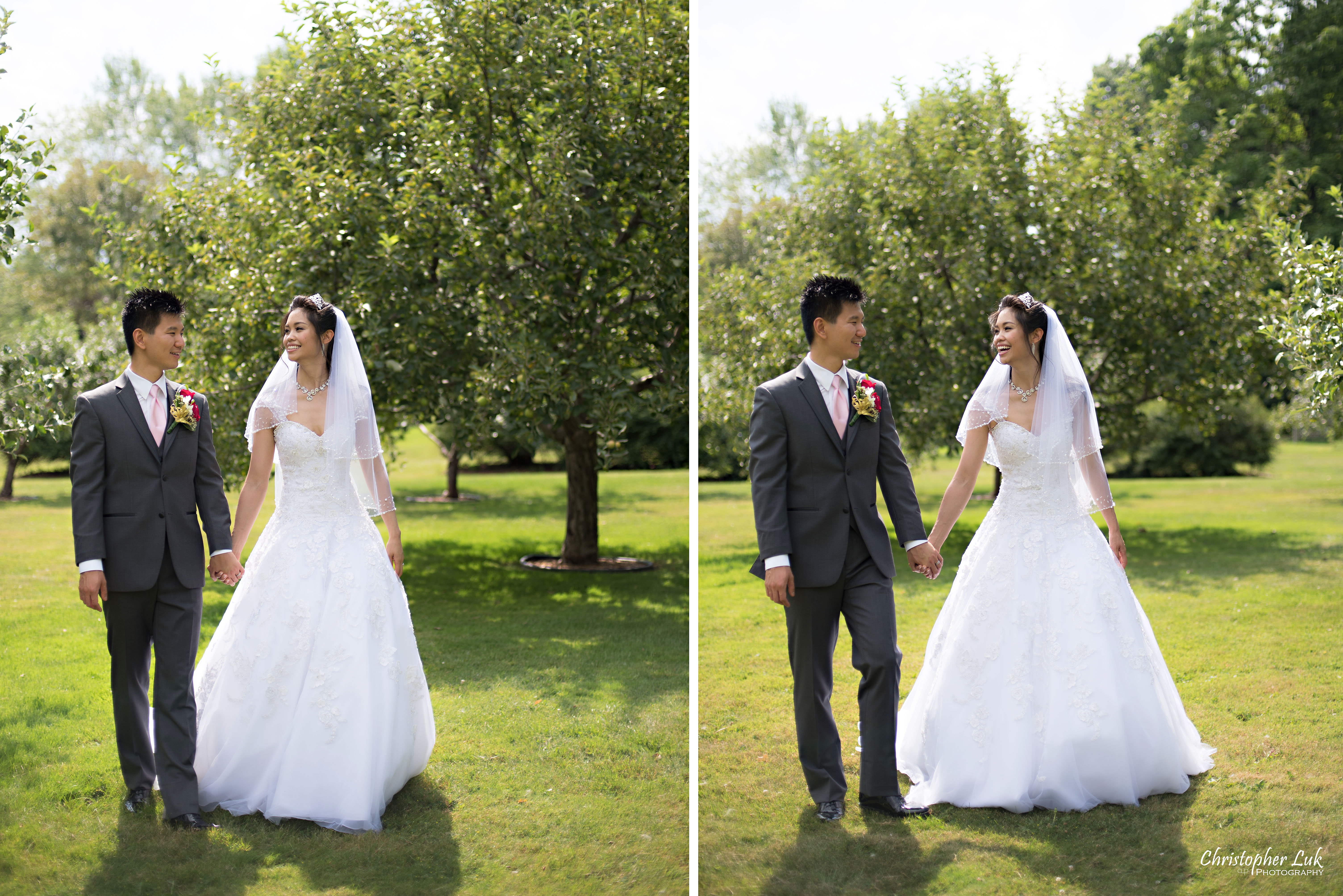 Christopher Luk 2015 - Shauna & Charles Wedding - Bride Groom Creative Relaxed Natural Portrait Session Photojournalistic Candid Walking Apple Trees