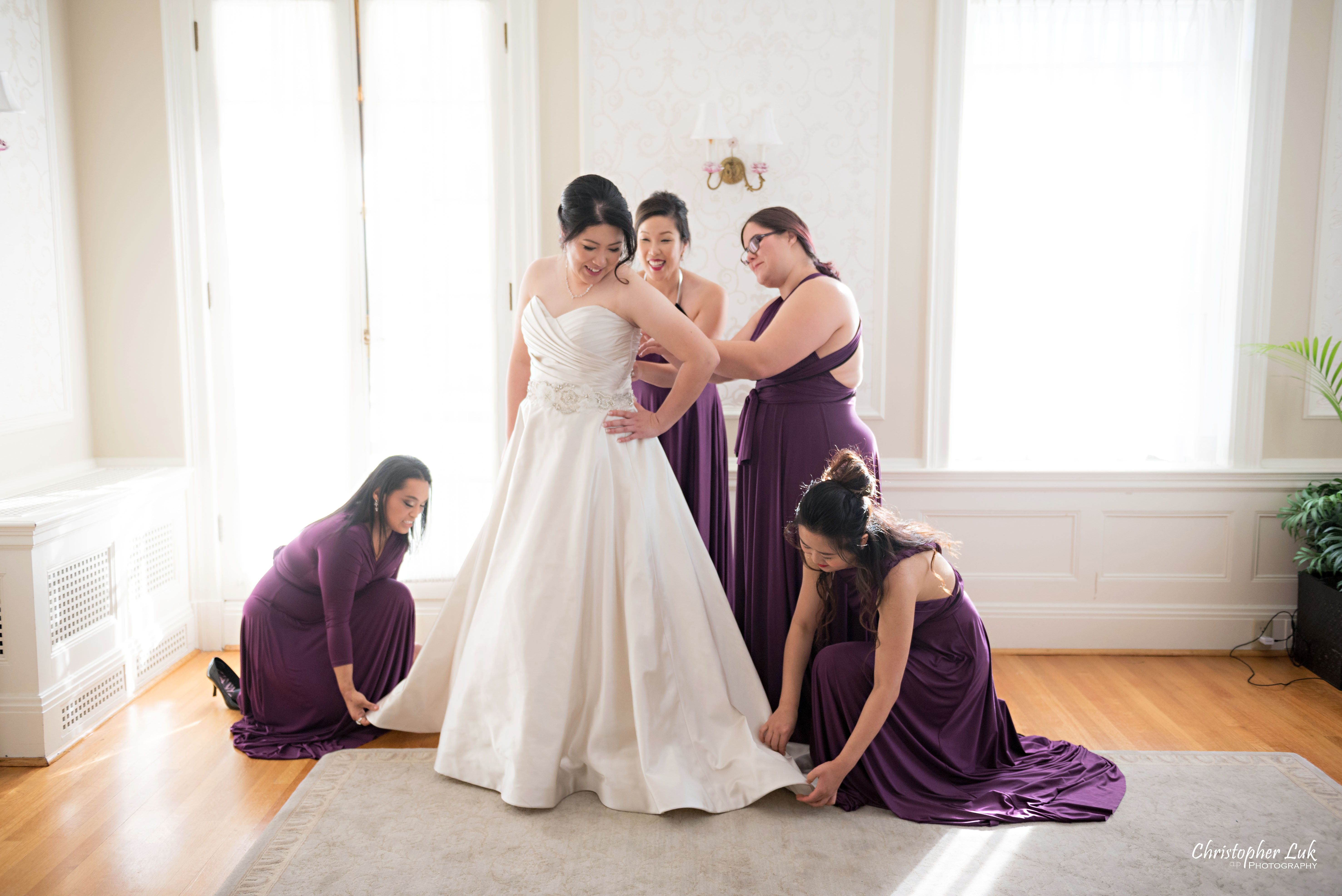 Toronto Wedding Photographer Heintzman House Winter Wedding Markham York Region Historic Estate Event Venue Photojournalistic Documentary Candid Natural Creative Bridal Room Bride Bridesmaids Getting Ready Corset Dress Gown Plum Purple Henkaa