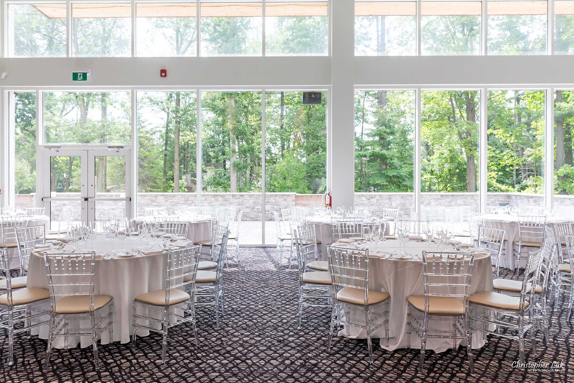 Christopher Luk Toronto Wedding Photographer - The Guild Inn Estate Guildwood Park and Gardens Event Venue Historical Scarborough Bluffs Bickord House Bistro Lunch Dinner Reception Hall Wide Tables Chiavari Chairs