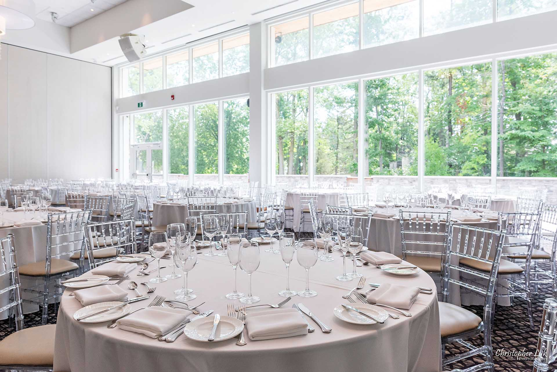 Christopher Luk Toronto Wedding Photographer - The Guild Inn Estate Guildwood Park and Gardens Event Venue Historical Scarborough Bluffs Bickord House Bistro Lunch Dinner Reception Hall Wide Tables Chiavari Chairs Angle