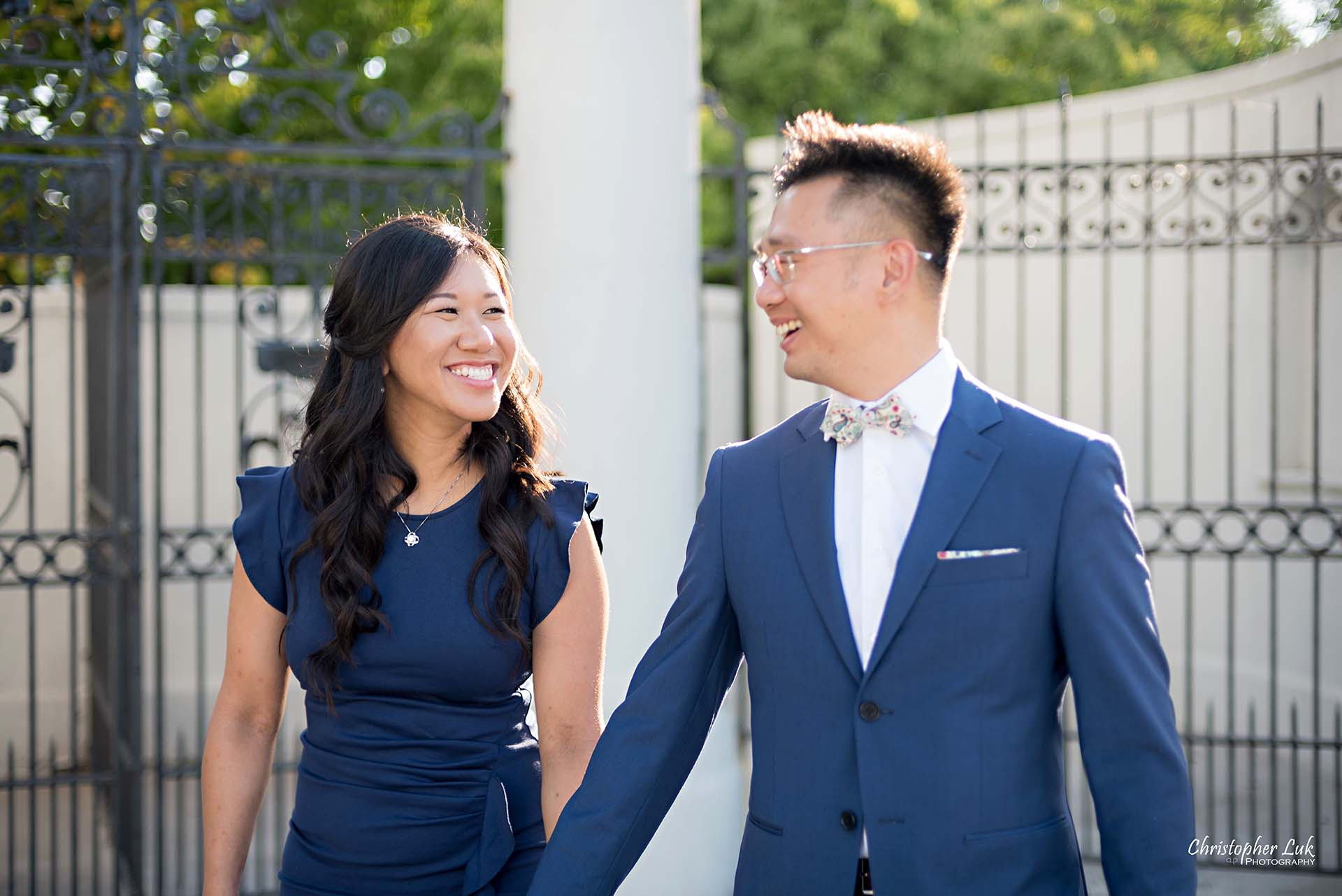 Christopher Luk Toronto Wedding Photographer - Engagement Photography - Sunnyside Pavilion Park Beach Boardwalk Toronto - Bride and Groom Natural Candid Photojournalistic Walking Smile