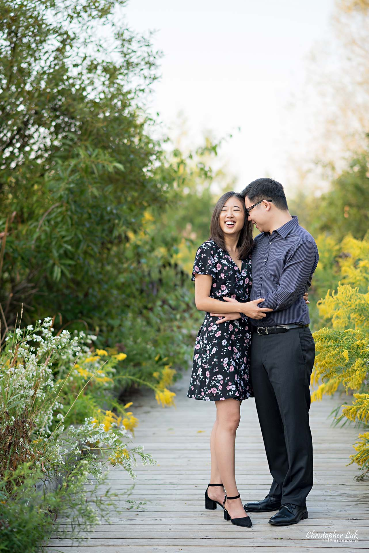 Christopher Luk Toronto Wedding Photographer - Richmond Hill Markham York Region Conservation Area Engagement PreWedding Chinese Korean - Natural Candid Photojournalistic Bride Groom Hug Boardwalk