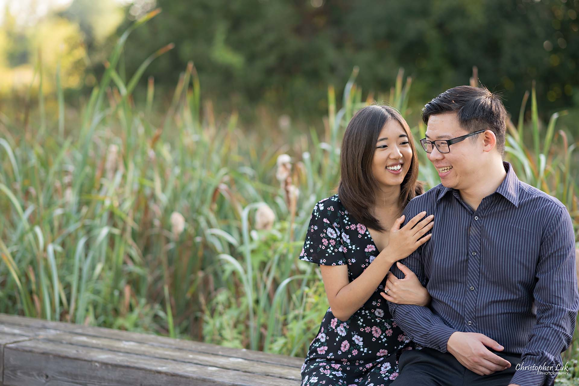 Christopher Luk Toronto Wedding Photographer - Richmond Hill Markham York Region Conservation Area Engagement PreWedding Chinese Korean - Natural Candid Photojournalistic Bride Groom Marsh Bench Hug Smile