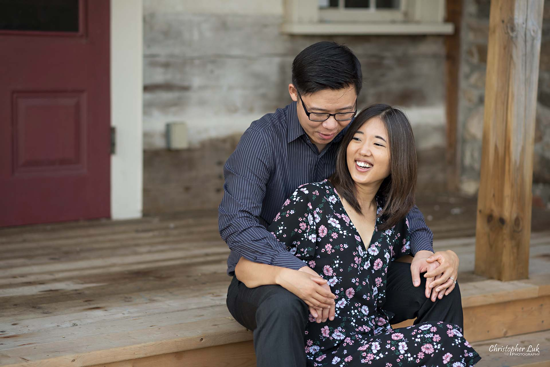 Christopher Luk Toronto Wedding Photographer - Richmond Hill Markham York Region Conservation Area Engagement PreWedding Chinese Korean - Natural Candid Photojournalistic Bride Groom Historic Estate Log Cabin House Steps Staircase Smile Landscape
