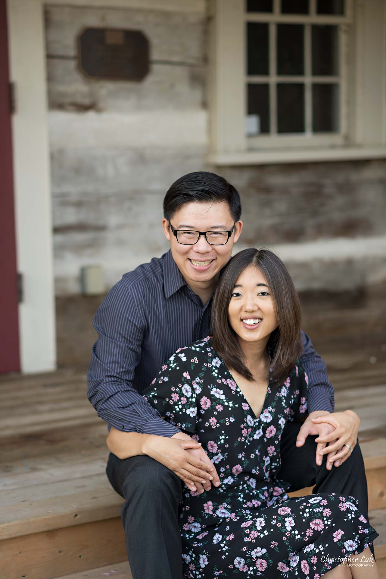 Christopher Luk Toronto Wedding Photographer - Richmond Hill Markham York Region Conservation Area Engagement PreWedding Chinese Korean - Natural Candid Photojournalistic Bride Groom Historic Estate Log Cabin House Steps Staircase Smile