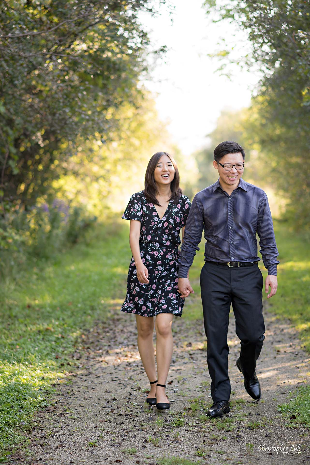 Christopher Luk Toronto Wedding Photographer - Richmond Hill Markham York Region Conservation Area Engagement PreWedding Chinese Korean - Natural Candid Photojournalistic Bride Groom Holding Hands Walking Laugh Smile Path Walk