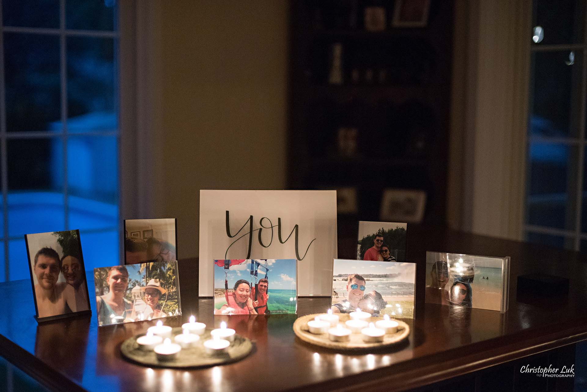 Christopher Luk Toronto Wedding Photographer - Backyard Surprise Proposal Engaged Engagement Gazebo Christmas Fairy Twinkle Lights Flower Petals Marry Me Tea Lights Candles You Table
