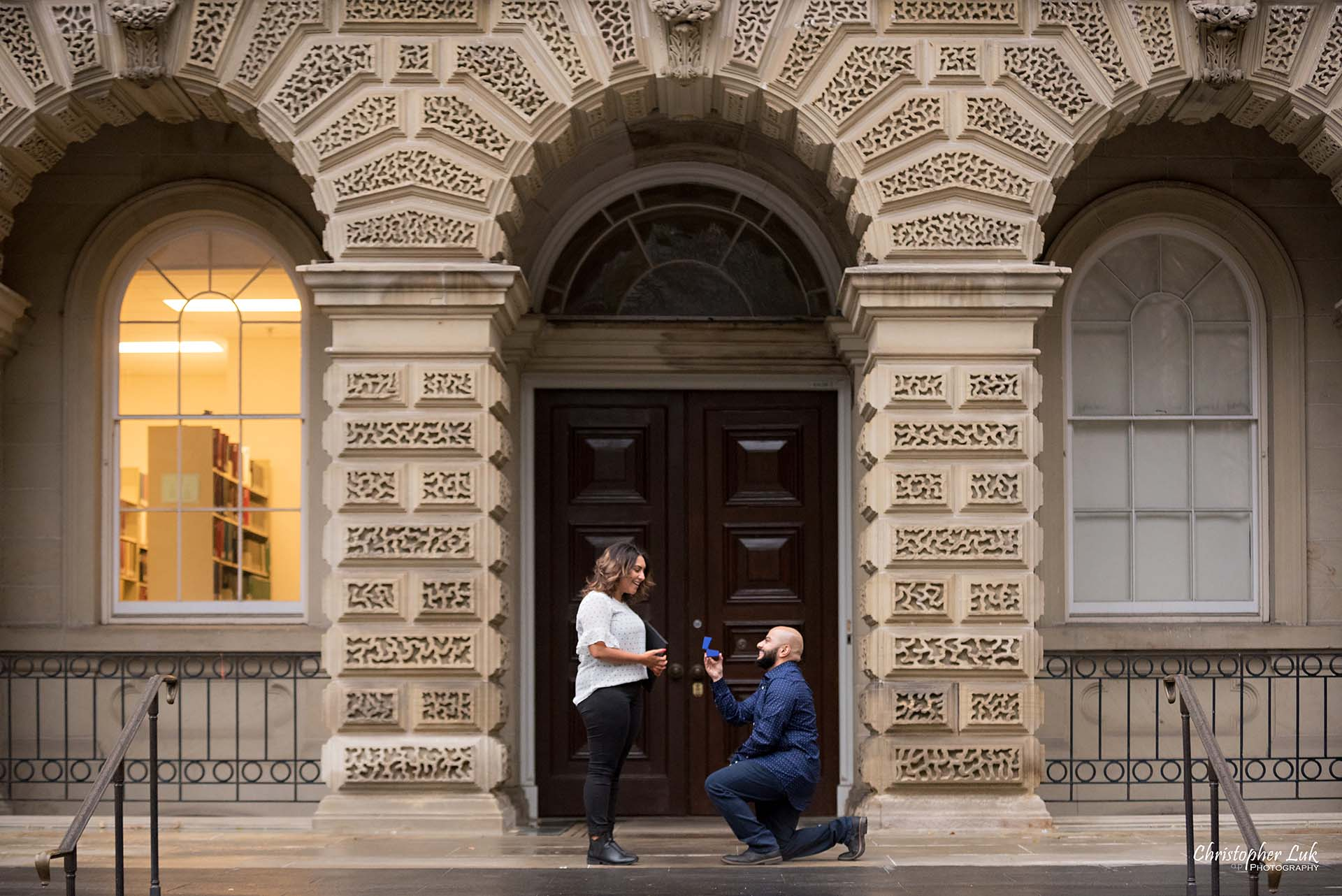 Christopher Luk Toronto Wedding Photographer - Toronto Osgoode Hall Surprise Proposal Engaged Engagement Will You Marry Me She Said Yes Natural Candid Photojournalistic - Fiancé Fiancée Bride Groom Kneel One Knee Ring