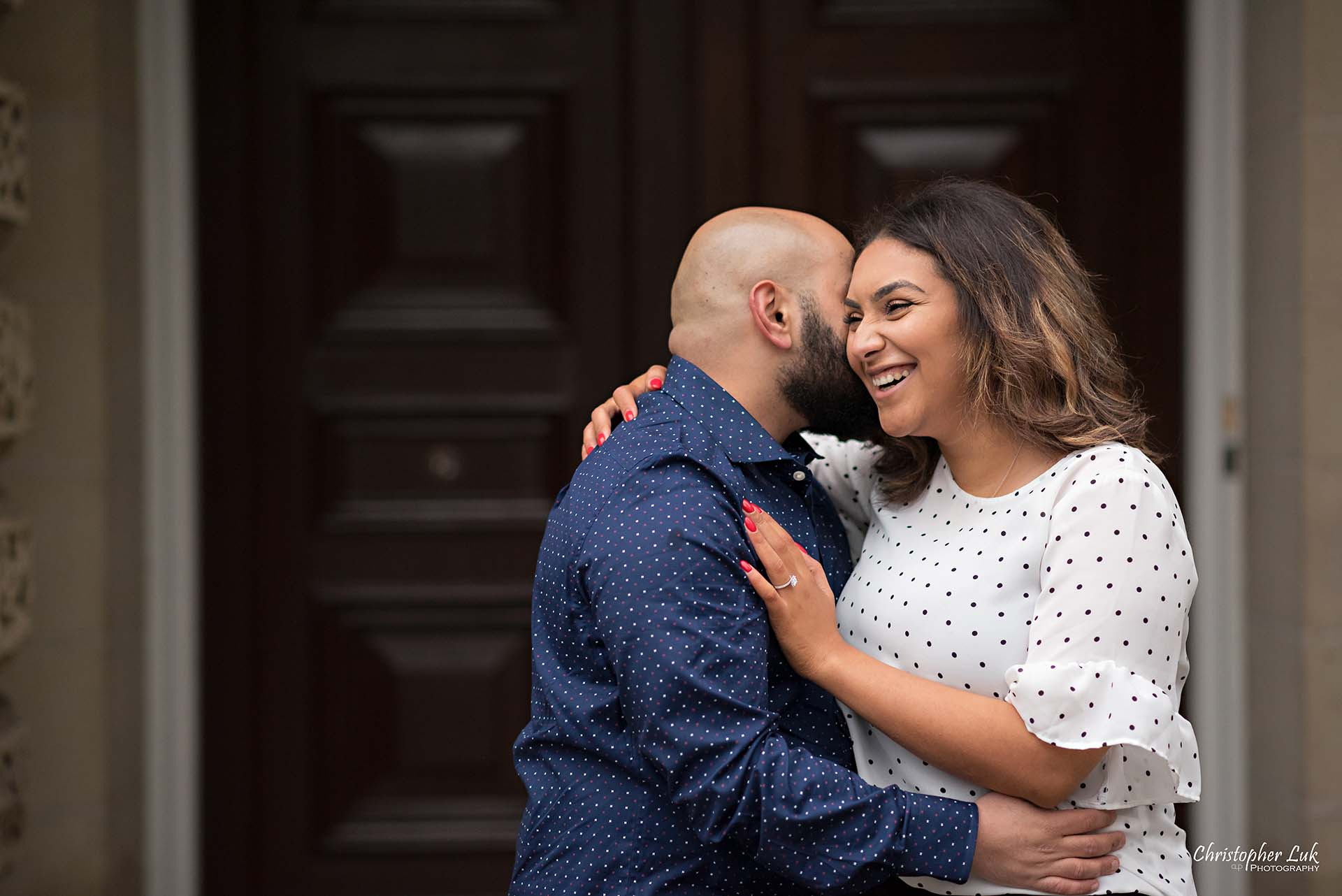 Christopher Luk Toronto Wedding Photographer - Toronto Osgoode Hall Surprise Proposal Engaged Engagement Will You Marry Me She Said Yes Natural Candid Photojournalistic - Fiancé Fiancée Bride Groom Hug Laugh