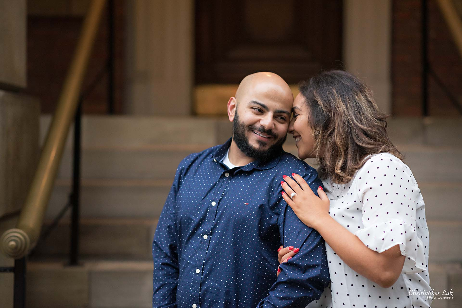 Christopher Luk Toronto Wedding Photographer - Toronto Osgoode Hall Surprise Proposal Engaged Engagement Will You Marry Me She Said Yes Natural Candid Photojournalistic - Fiancé Fiancée Bride Groom Hug Arm Close