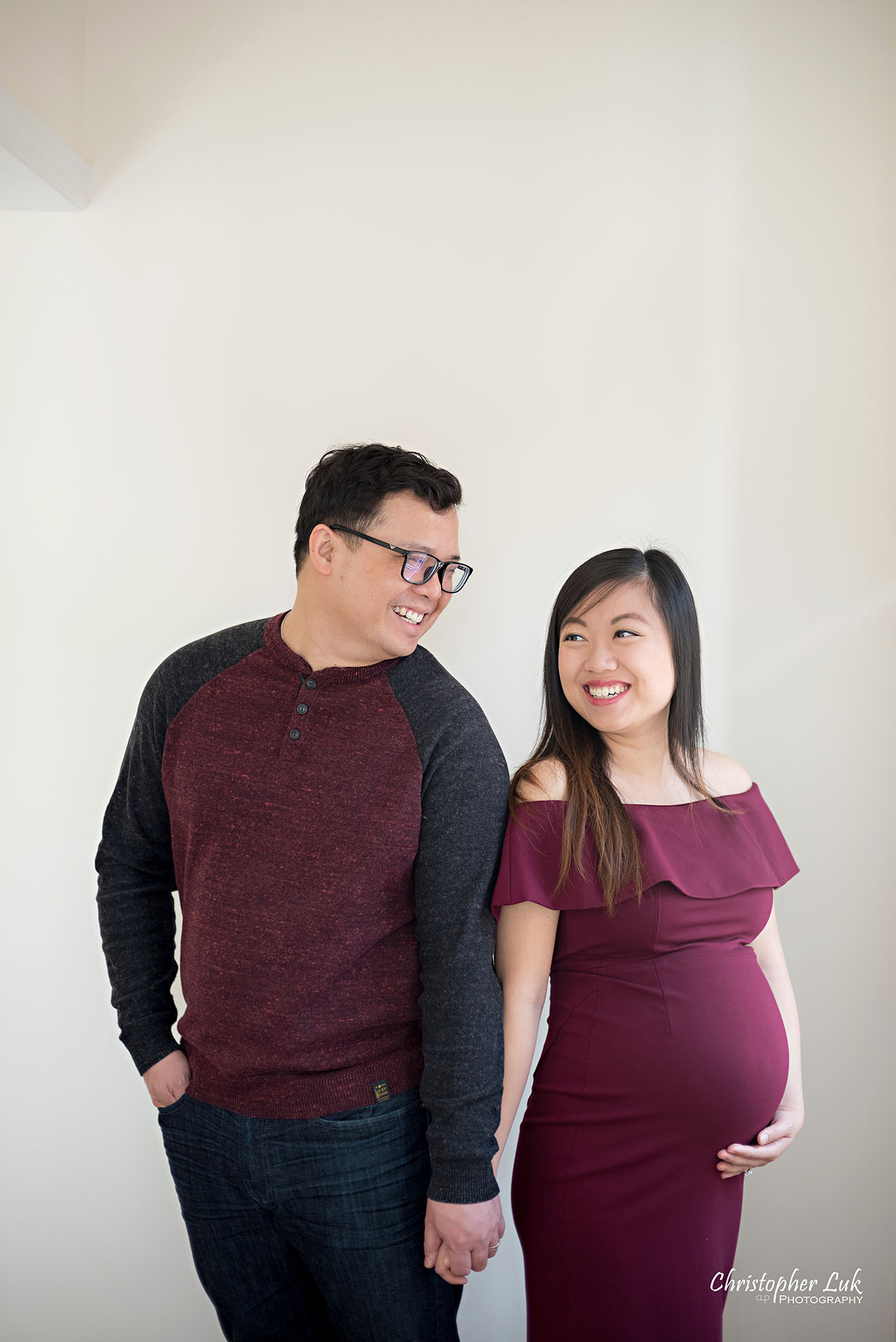 Christopher Luk Toronto Wedding Family Maternity Photographer - Markham Richmond Hill Toronto Natural Candid Photojournalistic Mom Dad Husband Wife Baby Bump Baby Pregnant Pregnancy Smiling Each Other Together