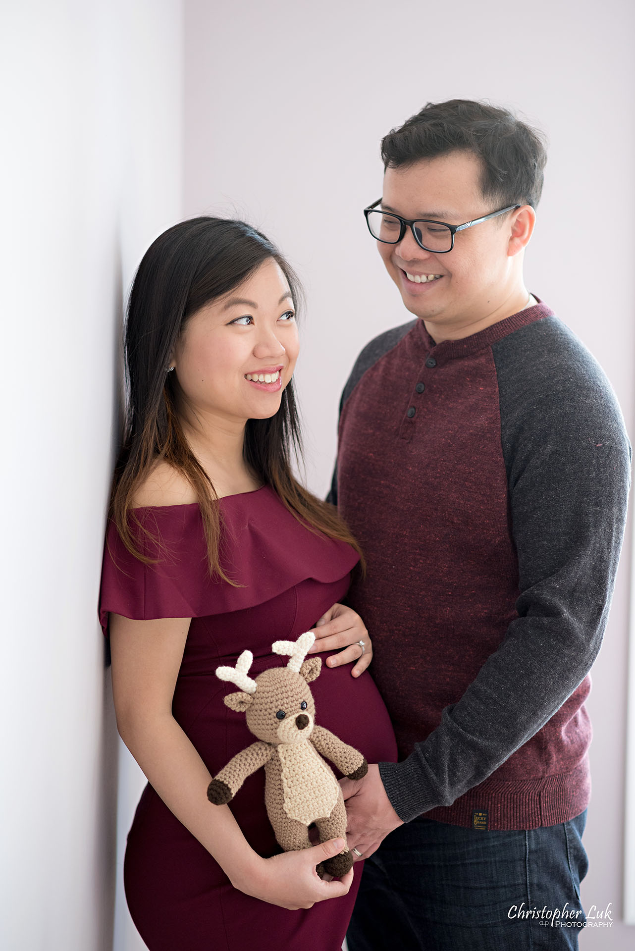 Christopher Luk Toronto Wedding Family Maternity Photographer - Markham Richmond Hill Toronto Natural Candid Photojournalistic Mom Dad Husband Wife Baby Bump Baby Pregnant Pregnancy Stuffed Animal Moose Elk