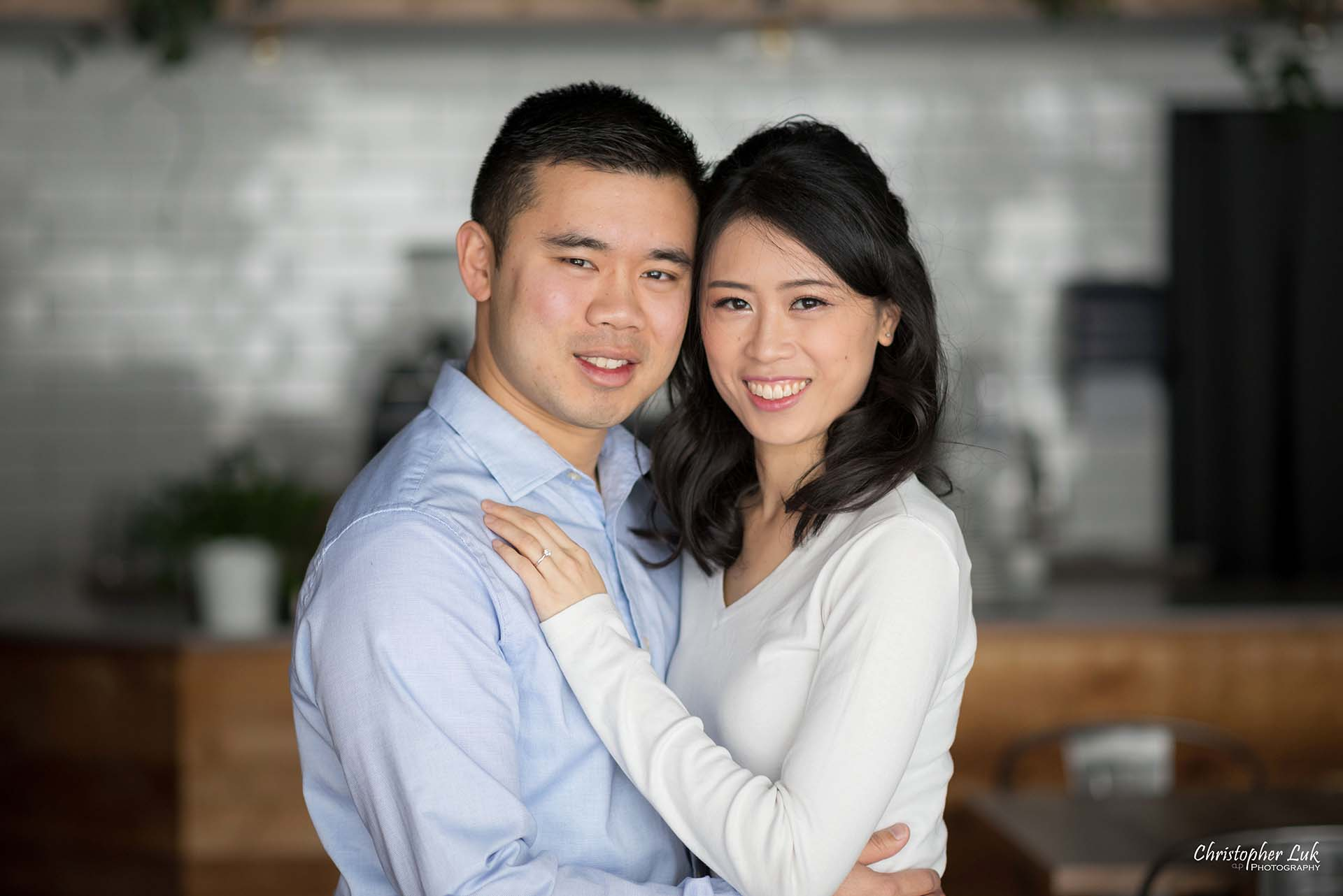 Christopher Luk Toronto Wedding Photographer - Richmond Hill Markham York Region Cafe Coffee Shop Bistro Winter Indoor Engagement PreWedding Natural Candid Photojournalistic Bride Groom Smile Camera Together