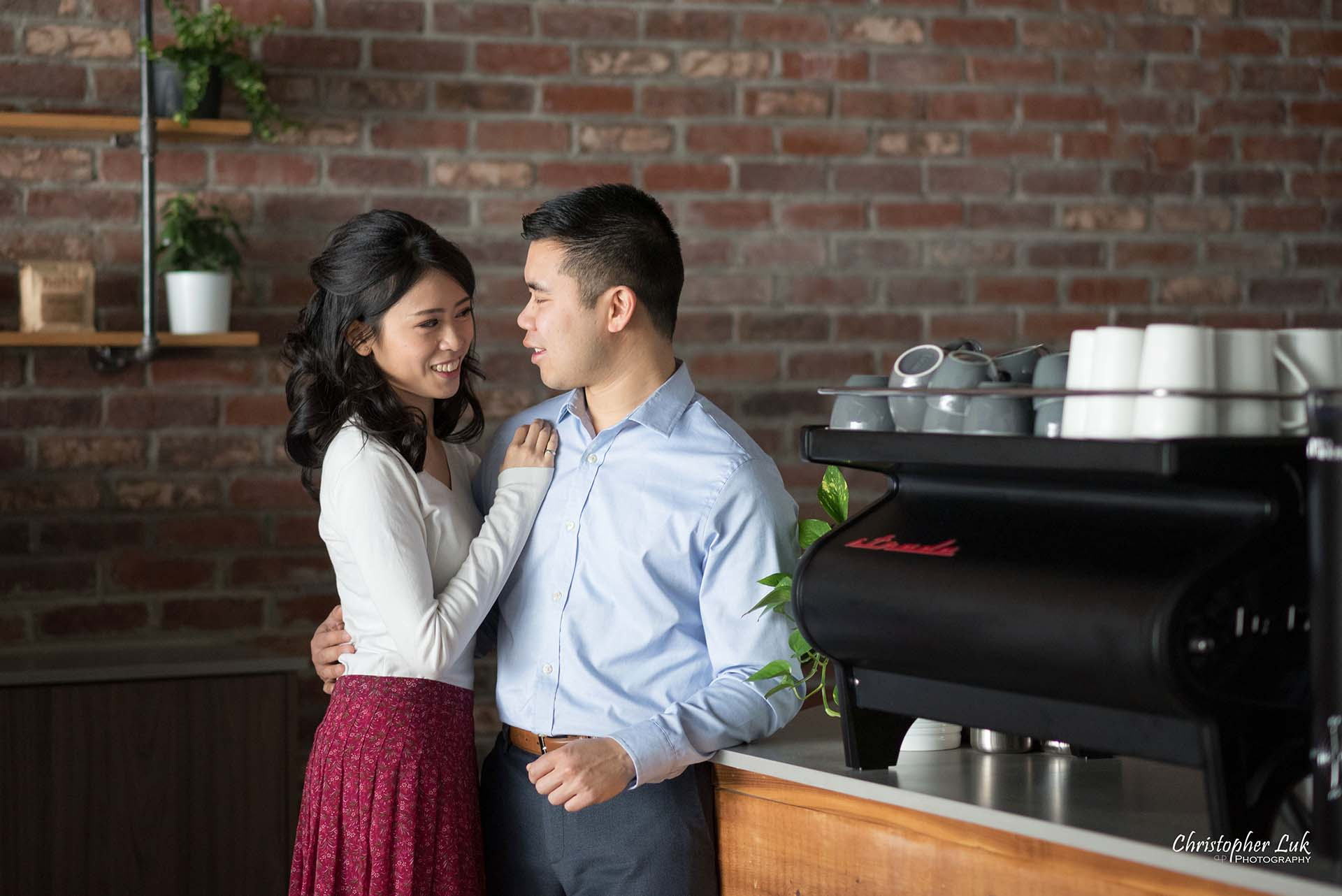 Christopher Luk Toronto Wedding Photographer - Richmond Hill Markham York Region Cafe Coffee Shop Bistro Winter Indoor Engagement PreWedding Rustic Business Interior Design Real Estate La Marzocco Strada Espresso Machine Natural Candid Photojournalistic Bride Groom Counter Landscape