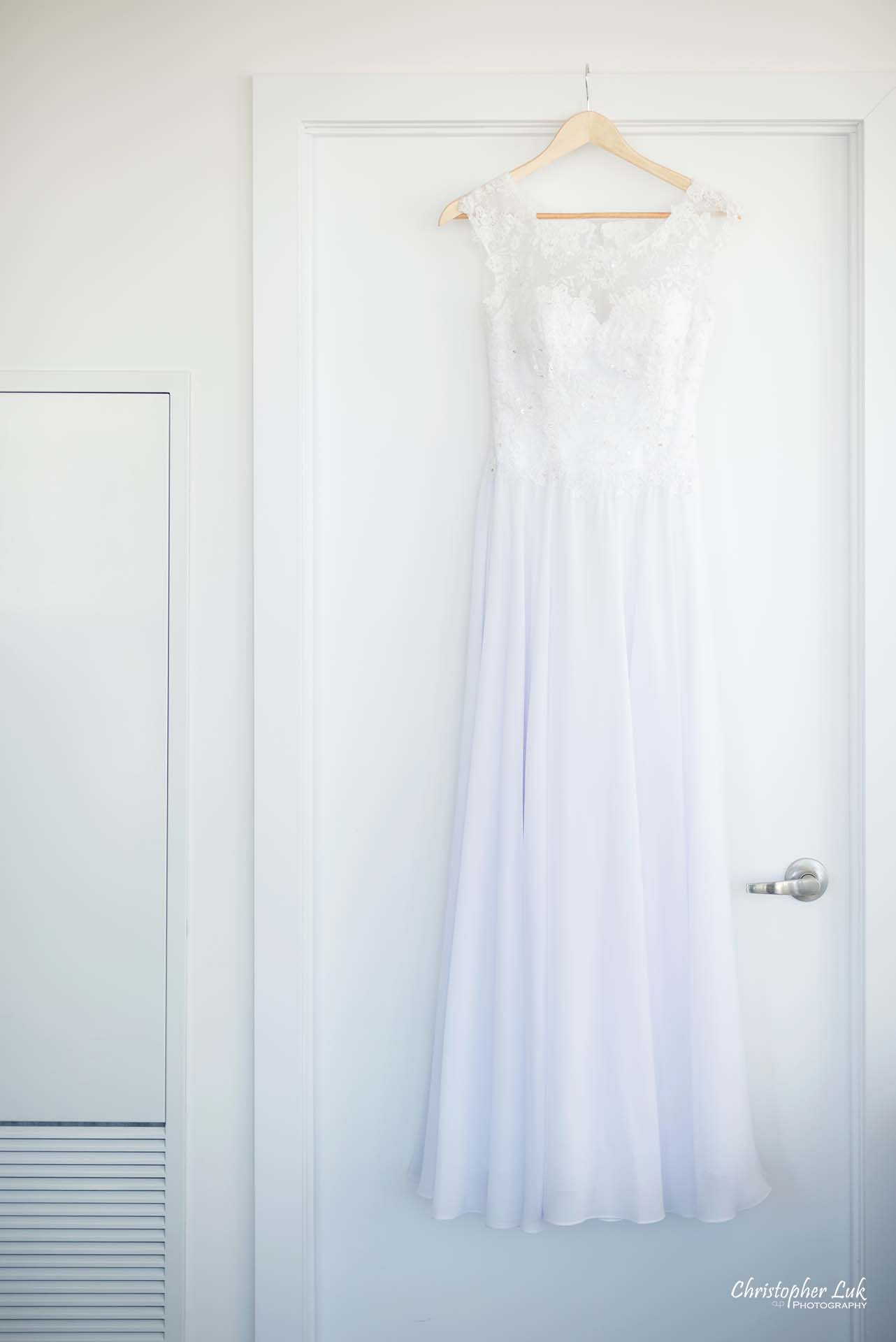 Christopher Luk Toronto Wedding Photographer - White Wedding Dress Hanging Detail