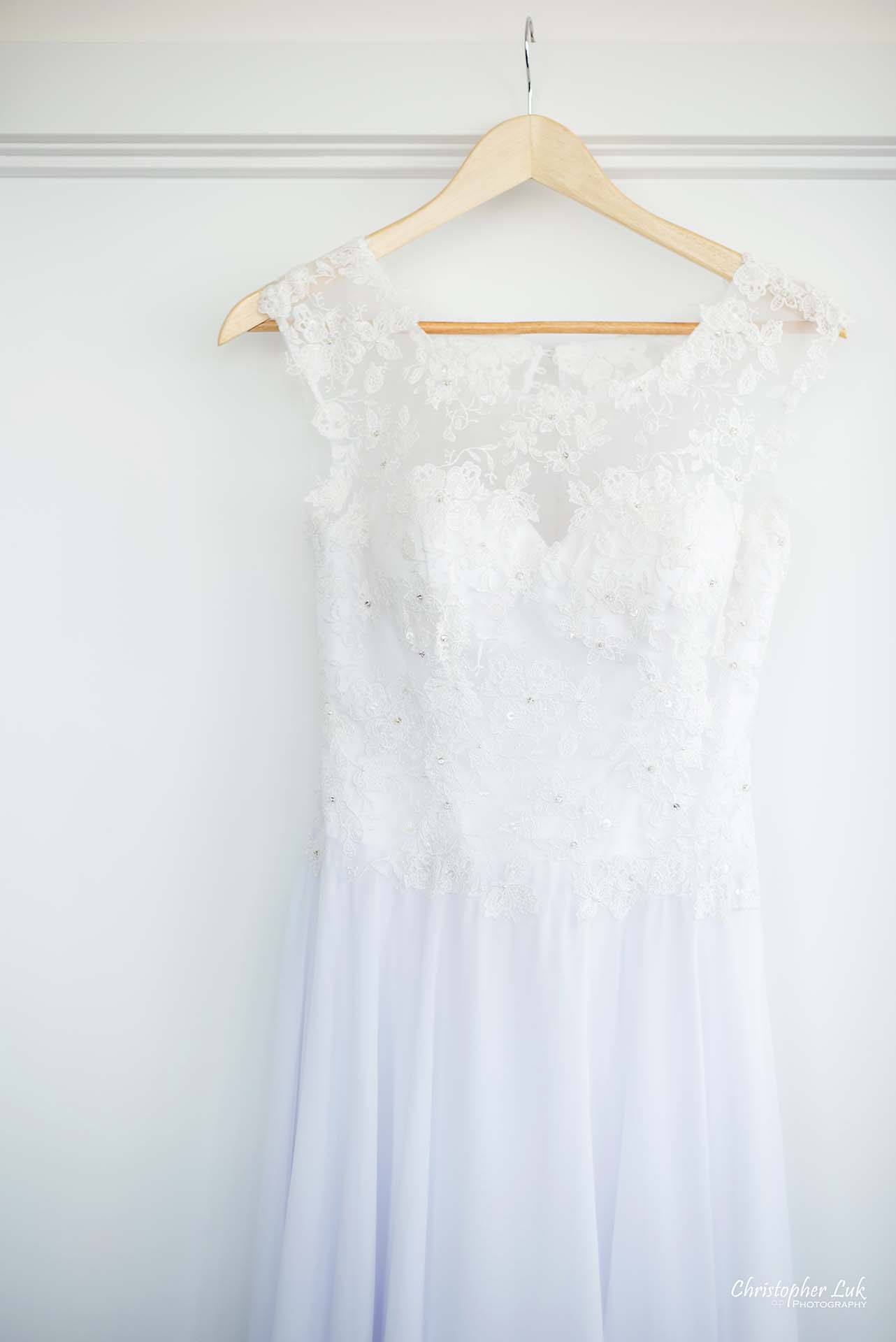 Christopher Luk Toronto Wedding Photographer - White Wedding Dress Hanging Detail Lace See Through
