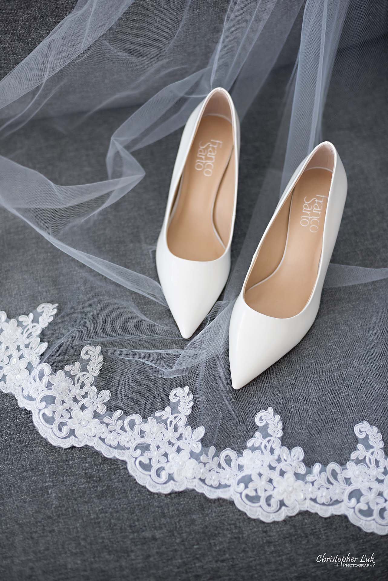 Christopher Luk Toronto Wedding Photographer - White Shoes Lace Veil Detail