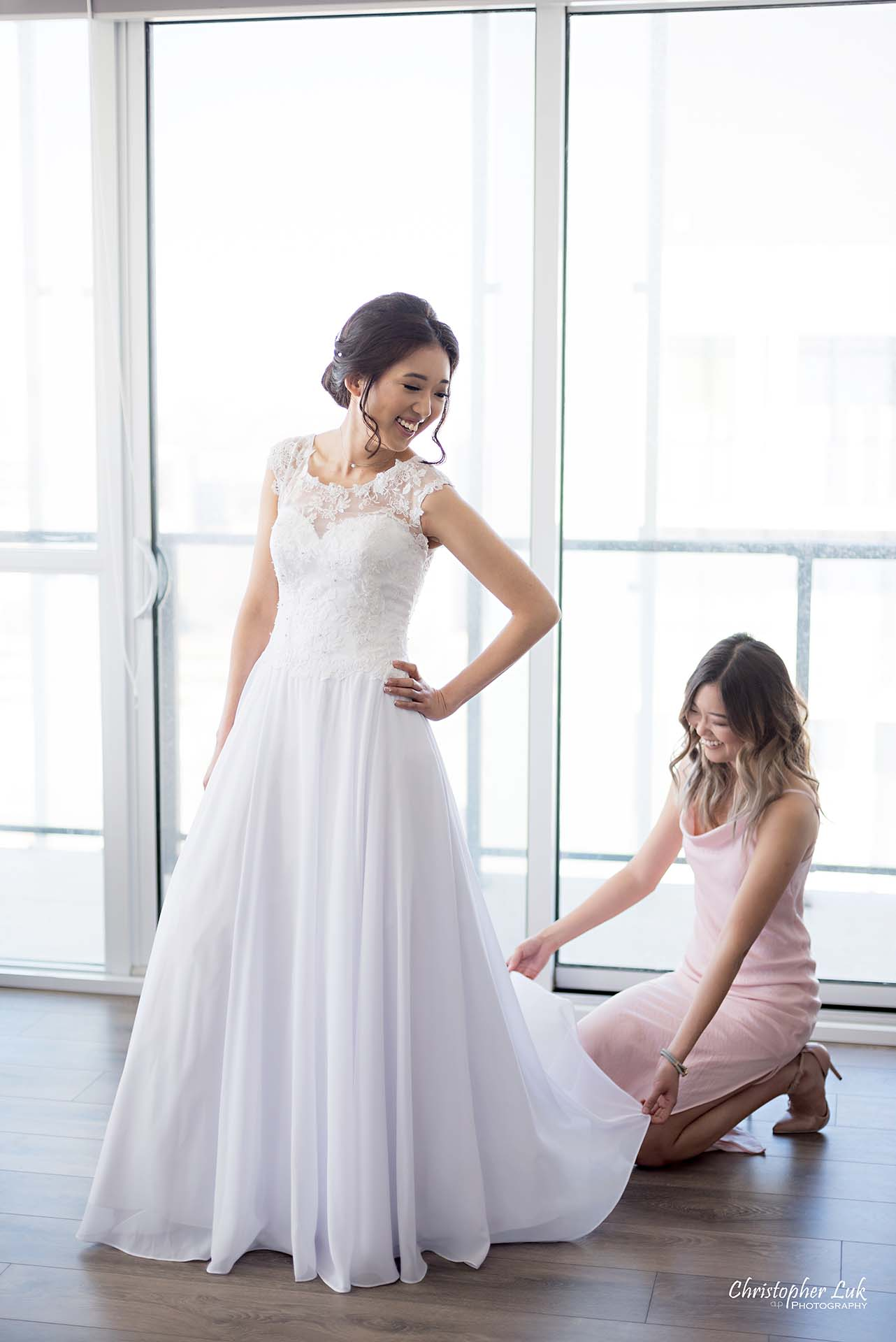 Christopher Luk Toronto Wedding Photographer - Natural Candid Photojournalistic Bride Sister Maid of Honour Getting Ready Pink White Dress Smile Full Body