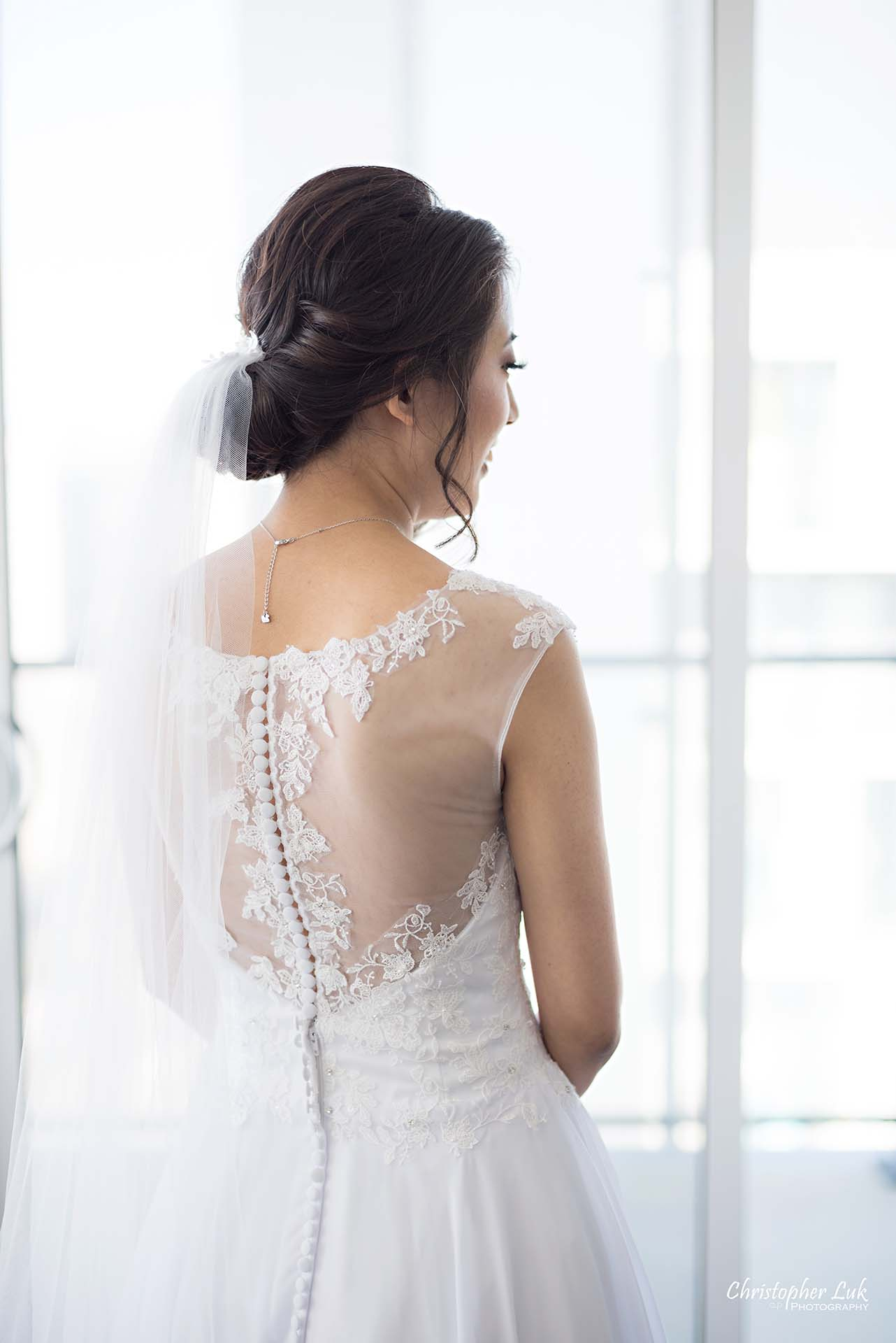 Christopher Luk Toronto Wedding Photographer - Natural Candid Photojournalistic Bride Getting Ready Veil Back of See Through Lace White Dress